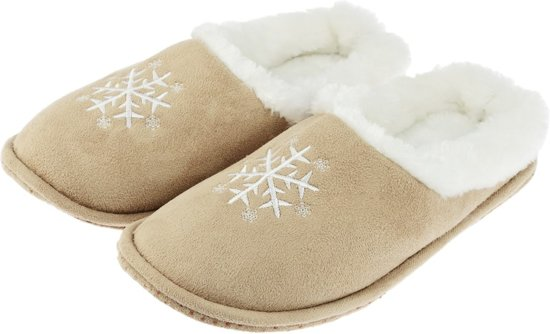 Beige instap sloffen/pantoffels sneeuwvlok voor dames - Warme instappers 38