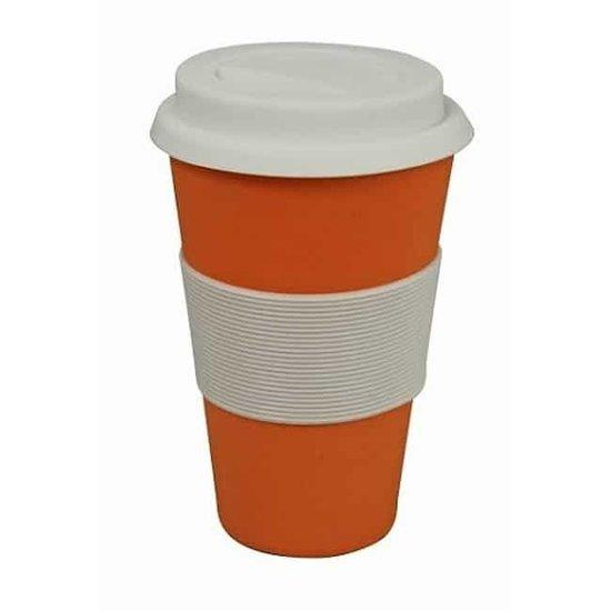 ZUPERZOZIAL - reisbeker, koffiebeker, coffe to go beker, CRUISING TRAVEL MUG, gebaseerd op bamboe & maïs, oranje, 300ml