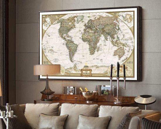 Disqounts wereldkaart wereldkaart poster vintage wereldkaart afbeelding wereldka - Decoratie van de woonkamer ...