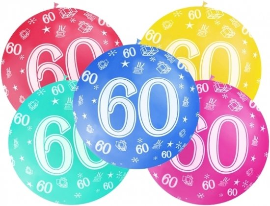 verjaardagskaart 60 jaar gratis bol.  Mega ballon 60 jaar   Wit   verjaardag versiering verjaardagskaart 60 jaar gratis