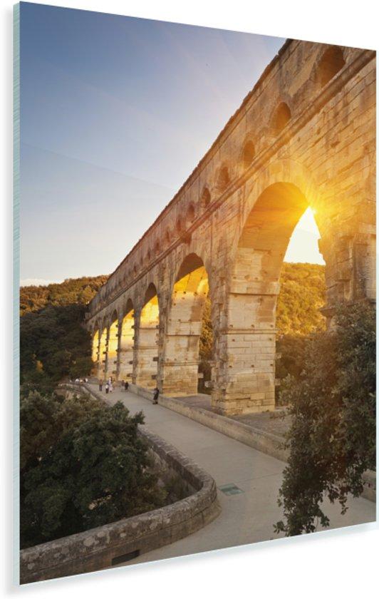 De zon schijnt door de Pont du Gard heen Plexiglas 20x30 cm - klein - Foto print op Glas (Plexiglas wanddecoratie)