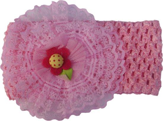Jessidress Hoofdband Meisjes Haarband met grote bloem van kant - Roze