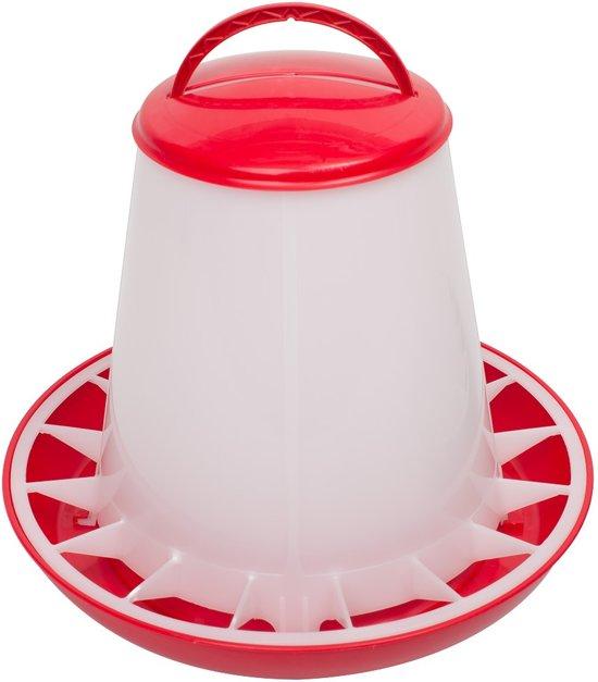 Kunststof voersilo 3kg met deksel rood