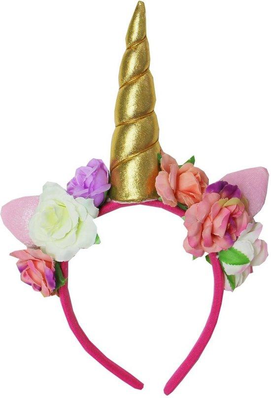 c7deb6a9fa1e4c Unicorn diadeem roze goud bloemen