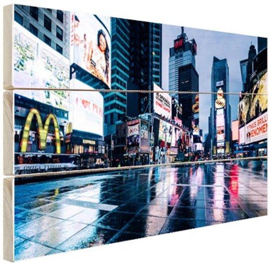 FotoCadeau.nl - Times Square na de regen Hout 120x80 cm - Foto print op Hout (Wanddecoratie)