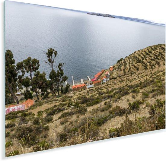Uitzicht op water en haven op Isla del Sol Bolivia Plexiglas 30x20 cm - klein - Foto print op Glas (Plexiglas wanddecoratie)