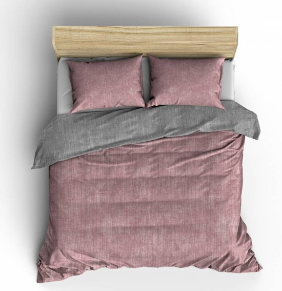 Nightlife Dekbedovertrek Washcotton Pink/Grey-140x200/220