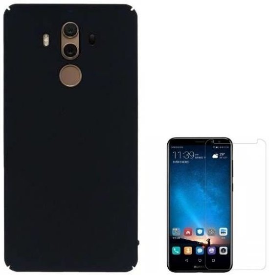 Teleplus Huawei Mate 10 Pro Hard Cover Case Black + Glass Screen Protector hoesje