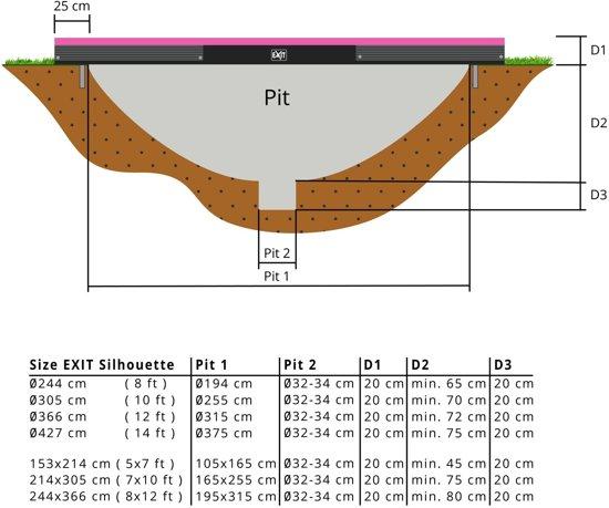 EXIT Silhouette inground trampoline 214x305cm - roze