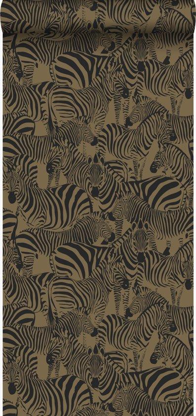 Zebra Print Behang.Origin Behang Zebra S Glanzend Goud 347454