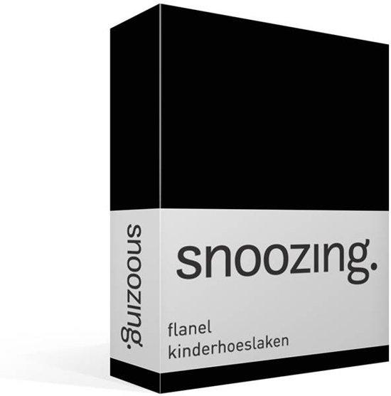 Snoozing flanel kinder hoeslaken Zwart Junior (70x140/150 cm) (75 zwart)