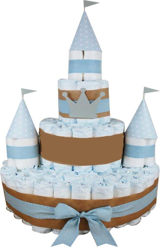 Pampertaart / Luiertaart  kasteel jongens 80 Pampers maat 1 (2-5kg)