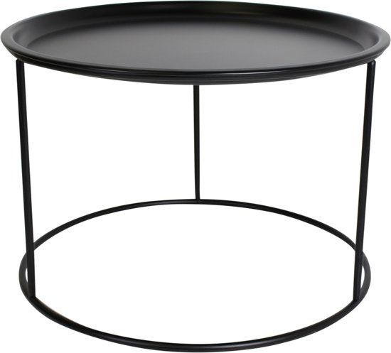 Zwarte ronde Bijzettafel-56x40cm-Metaal-Zwart-Housevitamin