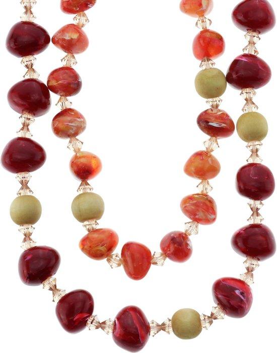 Zeer bol.com | Lange dubbele rode ketting van lint met kralen #XI98