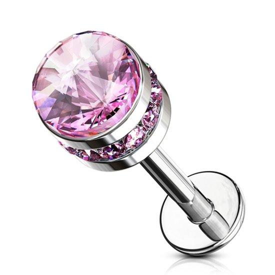 Piercing cylinder crystal gemmed steentjes roze ©LMPiercings