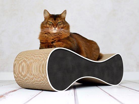 Cat-On® kartonnen krabmeubel LE VER M - 000G Zwart met witte rand