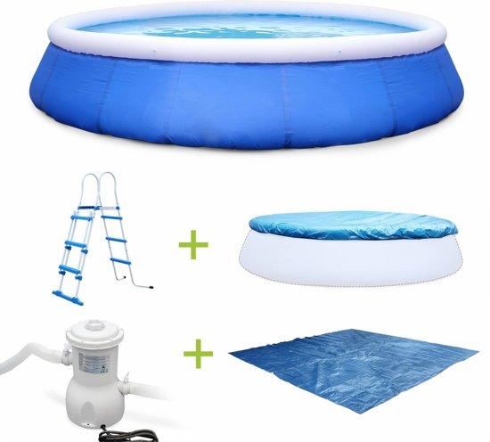 Kit rond zwembad Ø450x90cm met filterpomp, dekzeil, grondzeil en ladde