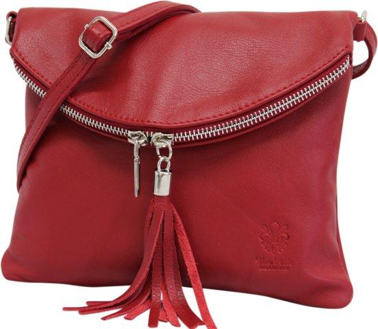 9f44d471d3b AmbraModa Italiaanse schoudertas crossbody tas dames kleine tas van echt  leer NL610 Rood
