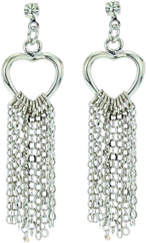 Dames oorbellen- oorbellen hartjes hanger- zilver-kleur