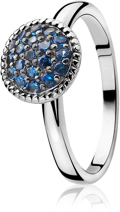 ZINZI zilveren ring blauw ZIR930B