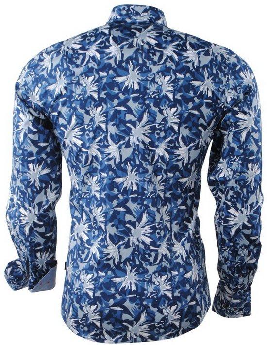 Carisma Blauw Heren Overhemd Donker Stretch Bloemen rrFq8U