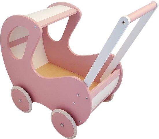 Playwood - Houten Poppenwagen roze / wit klassiek met kap