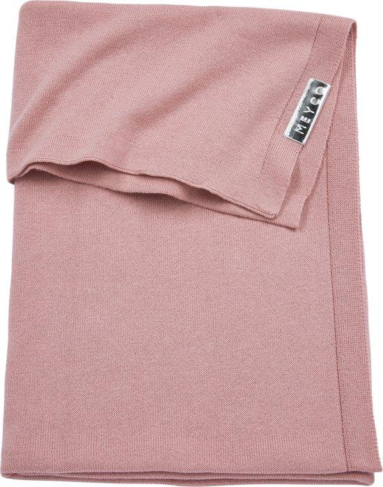 Meyco Knit basic wiegdeken - 75x100 cm - oudroze