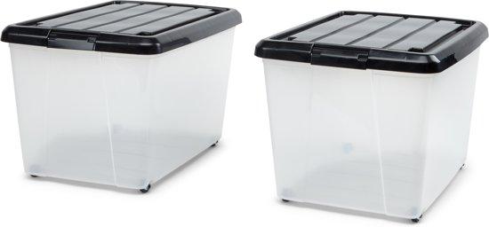 IRIS Rollerbox Set - 50L - Kunststof - Transparant/zwart - 2 stuks