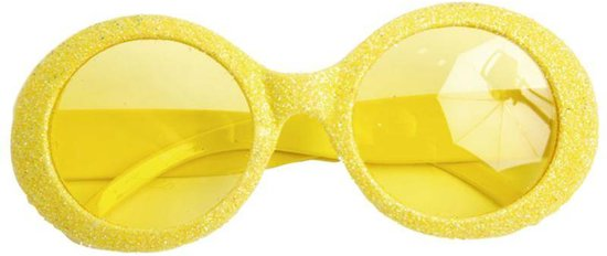 Gele Disco Bril met glitters | Gele Bril | Party | Disco Bril| Vrijgezellen party