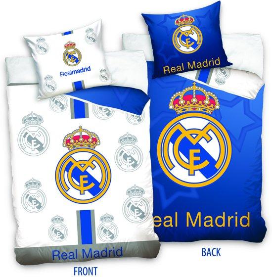Real Madrid Dekbedovertrek Logo 2-Zijdig - Eenpersoons - 140x200 cm - Blauw/Wit