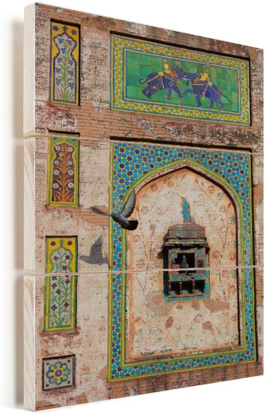 Geschilderde muur in het Fort van Lahore in Pakistan Vurenhout met planken 20x30 cm - klein - Foto print op Hout (Wanddecoratie)