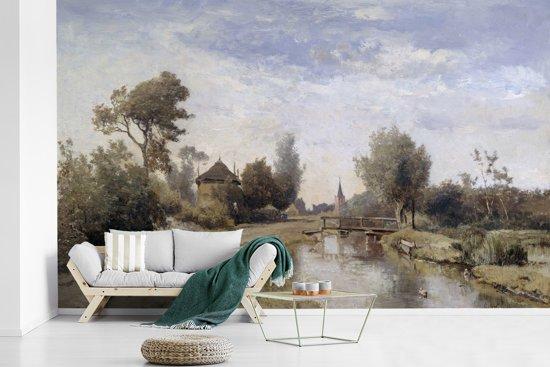 Fotobehang vinyl - Landschap bij Kortenhoef - Schilderij van Paul Joseph Constantin Gabriël breedte 385 cm x hoogte 240 cm - Foto print op behang (in 7 formaten beschikbaar)