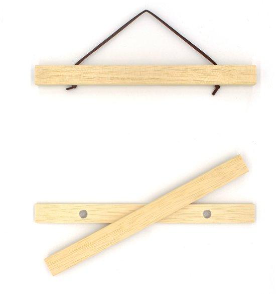 Posterhanger (21 cm) van hout met magnetische sluiting en leren koord | A4
