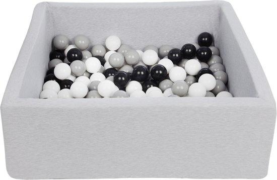 Zachte Jersey baby kinderen Ballenbak met 150 ballen, 90x90 cm - zwart, wit, grijs