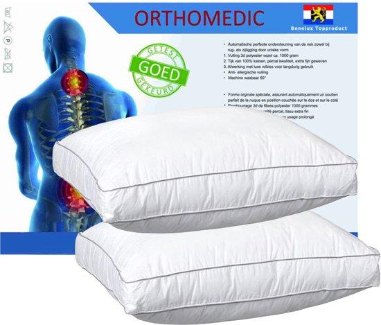 OrthoMedic Box Hoofdkussen Set (2 Stuks) - 50x60x10 (+2 Walra moltonslopen)