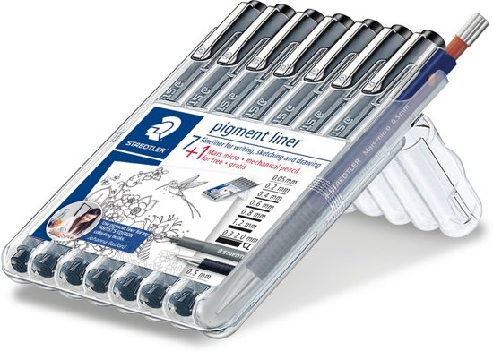 STAEDTLER pigment liner fineliner - box 7 st + fijnstifthouder Mars micro 0,5 mm