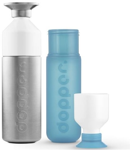 Dopper Original Drinkfles - 800 + 450 ml - Steel & Blue - 2 stuks