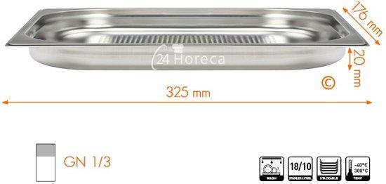Stoomovenpan 1/3 20mm Profi Line, geperforeerd