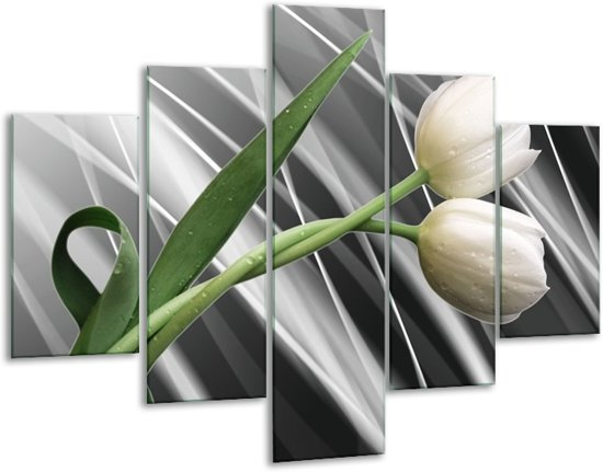 Glasschilderij Tulp | Grijs, Wit, Groen | 100x70cm 5Luik | Foto print op Glas |  F004703