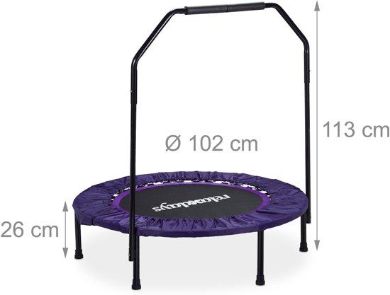 relaxdays - opvouwbaar trampoline met beugel - fitness - indoor - zwart-paars