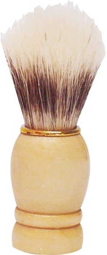 Scheerkwast houten handvat met gouden ring 9 cm