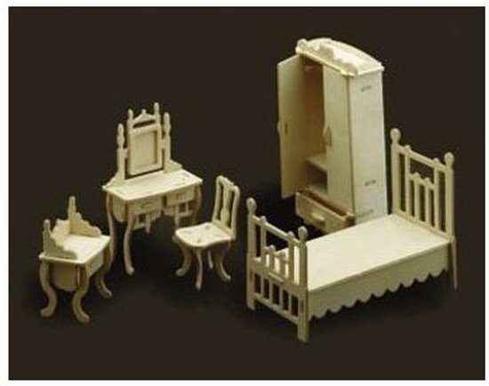 Poppenhuis slaapkamer meubeltjes