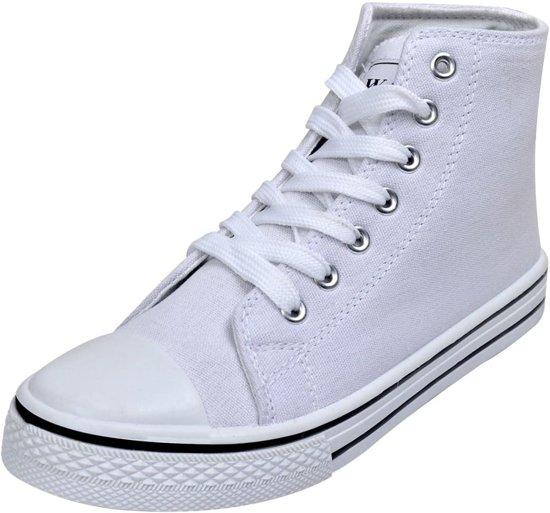| Klassieke hoge sneakers met veters voor dames wit