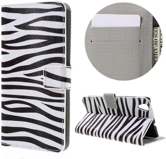 Huawei Y6 II   Honor 5A Hoesje Zebra met Opbergvakjes