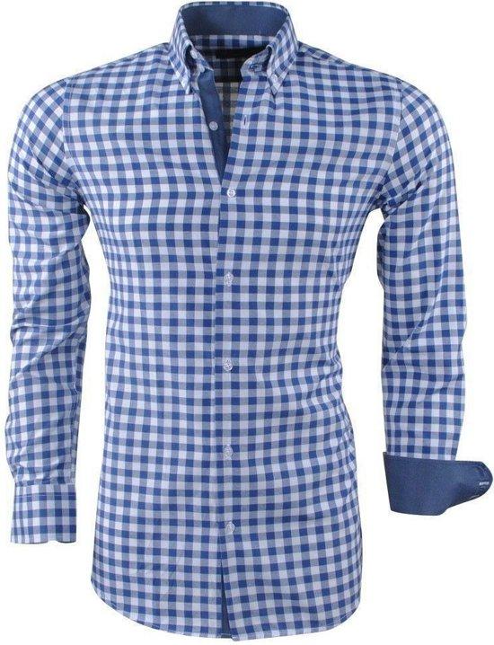Geblokt Overhemd.Bol Com Montazinni Heren Overhemd Geblokt Blauw