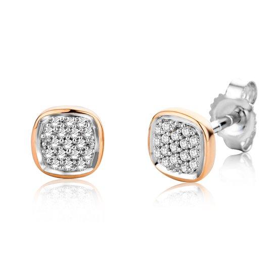 Majestine oorbellen 9 karaat (375) bicolor pavé - oorknoppen - dames - wit/roosgoudkleurig - diamant 0.10 ct