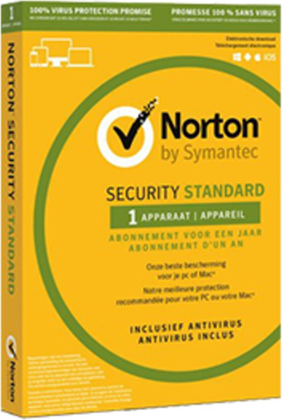 Norton Security Standard - Nederlands / Frans / 1 Apparaat / 1 Jaar / Windows / Mac / iOS / Android / ESD (Download)