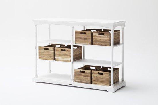 Bolcom Bordeaux Kast Met 6 Teakhouten Boxen In Antiek Wit