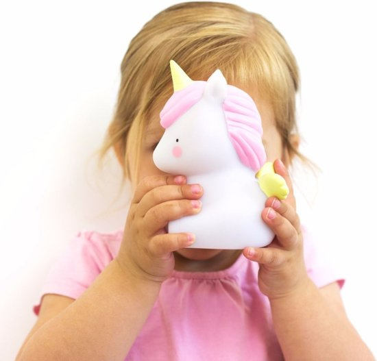 A Little Lovely Company - Unicorn - Nachtlampje - Wit / Roze - Kinder lamp - Kinderkamer lamp