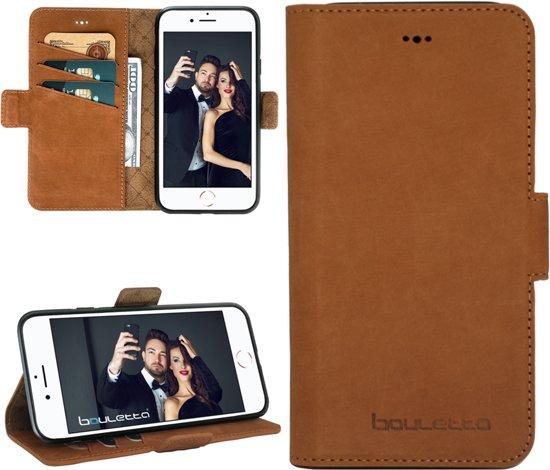 Bouletta Lederen Apple iPhone 8 Hoesje - Book Case - Nubuck Tan in Mehaigne